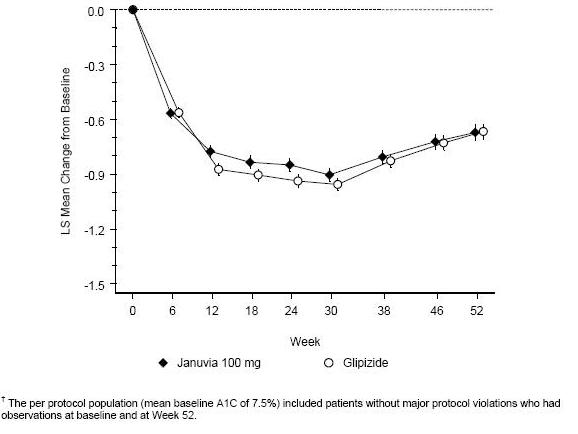 Figure 2: Mean Change from Baseline for A1C (%) Over 52 Weeks in a Study Comparing JANUVIA to Glipizide as Add-On Therapy in Patients Inadequately Controlled on Metformin (Per Protocol Population)<sup>†</sup>